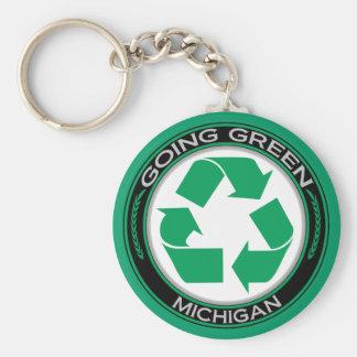 El verde que va recicla Michigan Llavero Redondo Tipo Pin