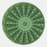 El verde raya el arte 8 del caleidoscopio pegatina redonda