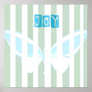 El verde raya el poster de la mariposa de la alegr