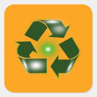 El verde recicla al pegatina cuadrado del pegatina