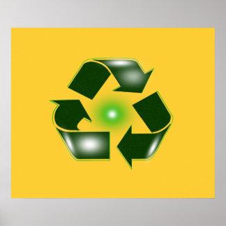 """El verde recicla el logotipo 27,42"""" grande x 23"""" póster"""