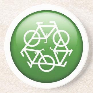 El verde recicla el práctico de costa de la piedra posavasos diseño