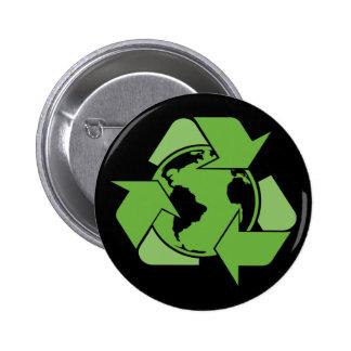 El verde recicla el reciclaje de oscuridad pin redondo de 2 pulgadas