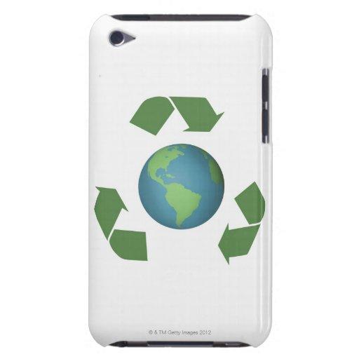 El verde recicla flechas cerca la tierra iPod touch protector
