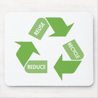 El verde recicla la reutilización reduce alfombrilla de ratones