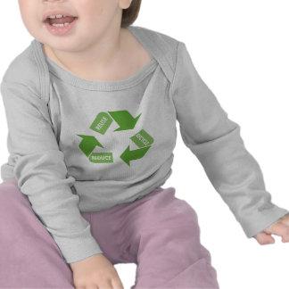 El verde recicla la reutilización reduce camisetas
