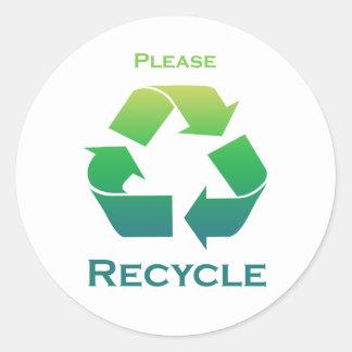 El verde recicla por favor a los pegatinas pegatina redonda