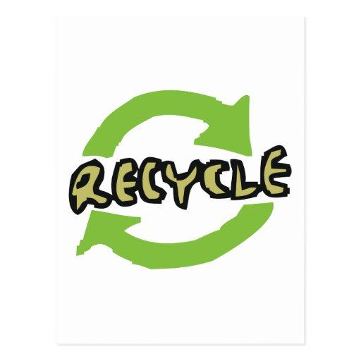 El verde recicla tarjeta postal