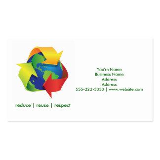 El verde recicla tarjetas de visita verdes del Día