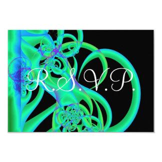 """El verde remolina en la tarjeta negra de RSVP Invitación 3.5"""" X 5"""""""
