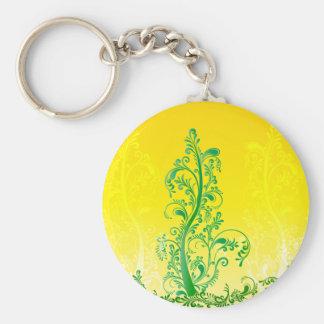 El verde remolina ORNAMENTO floral del árbol Llavero Redondo Tipo Pin