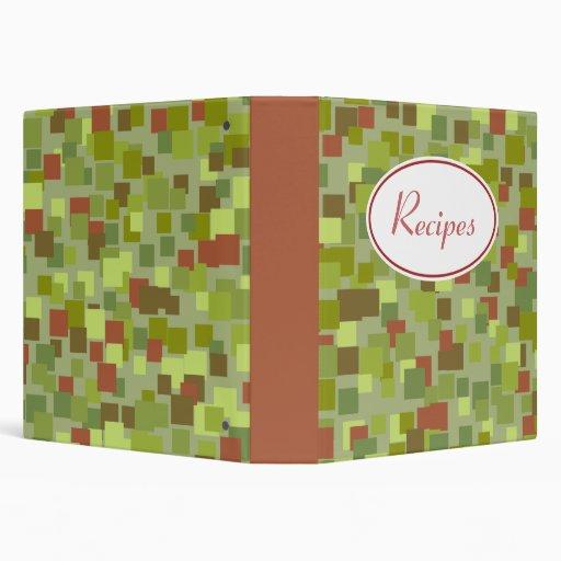 El verde retro ajusta la carpeta de la receta