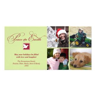 El verde rojo se zambulló paz en el saludo del día tarjeta fotográfica personalizada