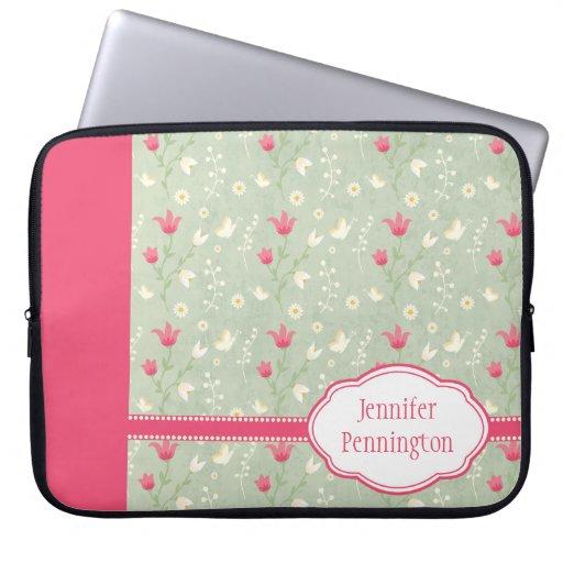 El verde rosado personalizado florece la manga del mangas portátiles