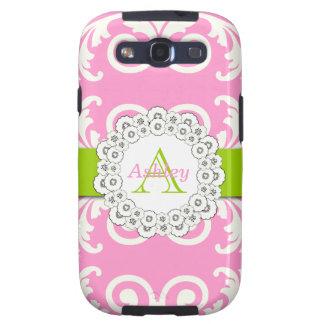El verde rosado remolina caso floral de SAMSUNG Galaxy S3 Cárcasas