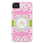 El verde rosado remolina caso floral del iPhone 4 Case-Mate iPhone 4 Carcasas