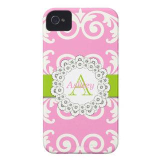 El verde rosado remolina caso floral del iPhone 4 iPhone 4 Case-Mate Cárcasas