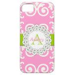 El verde rosado remolina caso floral del iPhone 5 iPhone 5 Protectores