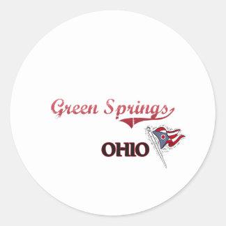 El verde salta obra clásica de la ciudad de Ohio Etiqueta Redonda