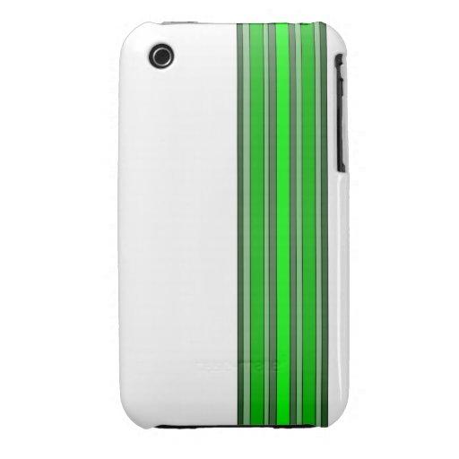 El verde sombrea la caja de las rayas verticales Case-Mate iPhone 3 funda