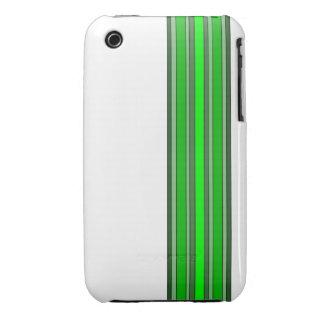 El verde sombrea la caja de las rayas verticales iPhone 3 Case-Mate cárcasas