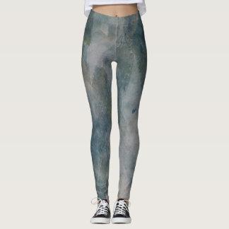 El verde suave artsy deja arte usable leggings