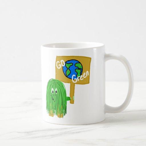 El verde va planeta verde taza básica blanca