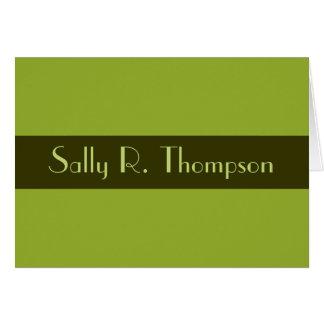 El verde verde oliva añade su nombre tarjeta pequeña