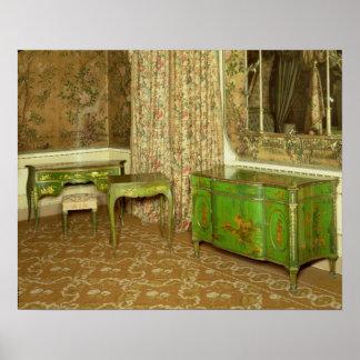 El verde y el oro laquean los muebles en el estado posters