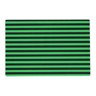 El verde y las rayas negras laminaron Placemat Tapete Individual