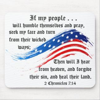 El verso 2 de la biblia crónica el 7:14, bandera tapete de raton