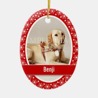 El verso conmemorativo de la foto del mascota ornamento para arbol de navidad