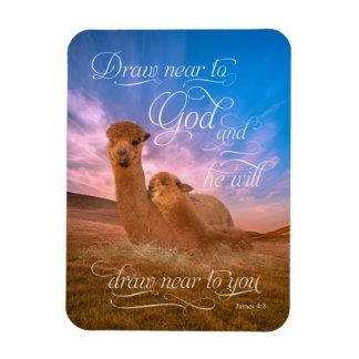 El verso de la biblia de la alpaca se acerca al imán rectangular