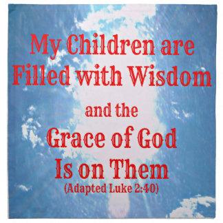 El verso de la biblia de Lucas mis niños se llena  Servilletas Imprimidas