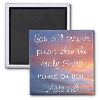 El verso de la biblia del Espíritu Santo actúa 1:8 Imán