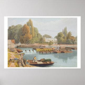 El vertedero del puente de Marlow grabado por Ro Poster