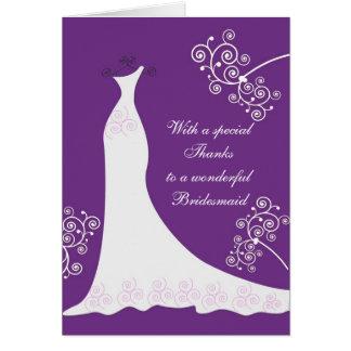 El vestido blanco, remolinos en el boda púrpura le tarjeta de felicitación