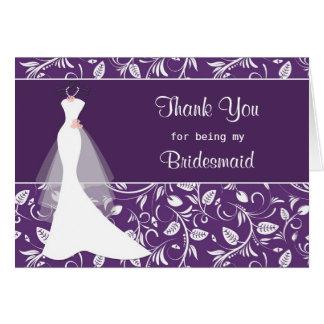 El vestido de boda damasco en púrpura le agradece tarjetas