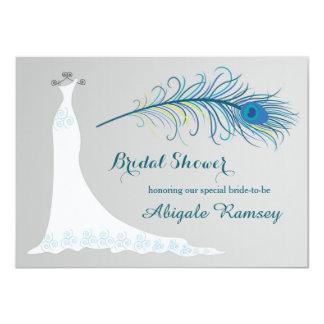 """El vestido de boda, ducha nupcial de la pluma del invitación 4.5"""" x 6.25"""""""