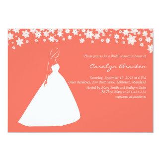"""El vestido de boda elegante florece la ducha invitación 5"""" x 7"""""""