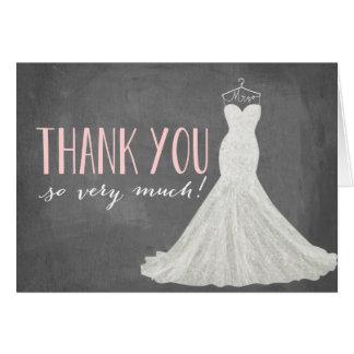 El vestido de boda moderno el | le agradece cardar tarjeta pequeña