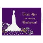 El vestido de boda, remolinos en púrpura le agrade tarjeta