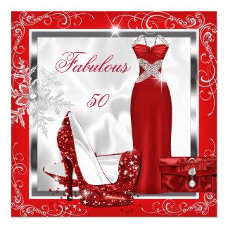 """El vestido de plata rojo fabuloso de 50 fiestas se invitación 5.25"""" x 5.25"""""""
