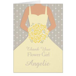 El vestido del amarillo del florista del boda le tarjeta pequeña