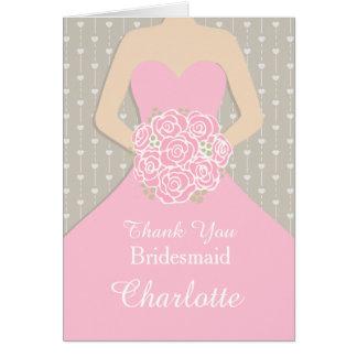 El vestido del rosa de la dama de honor del boda tarjeta pequeña