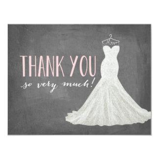 """El vestido elegante el   le agradece invitación 4.25"""" x 5.5"""""""