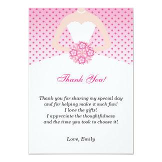 """El vestido le agradece cardar los puntos rosados invitación 5"""" x 7"""""""