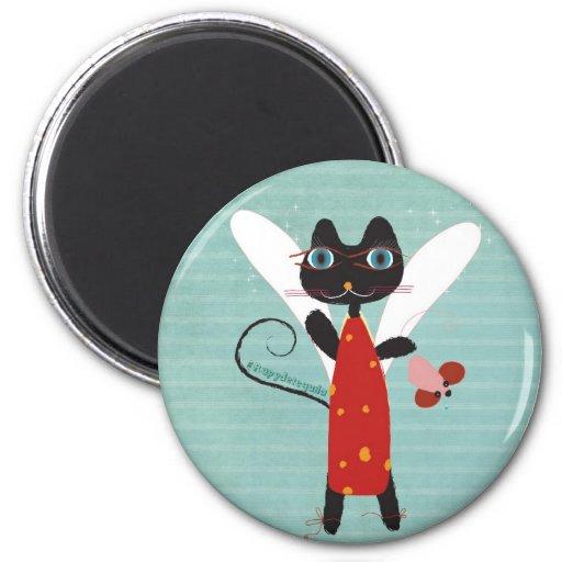 El vestido rojo del ratón del circo del ángel imán redondo 5 cm