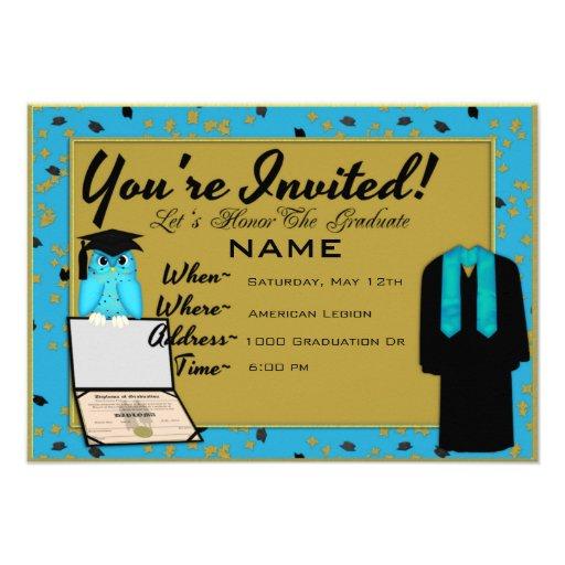 El vestido y la estola de la graduación azules cla anuncio personalizado