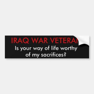 El VETERANO de GUERRA de IRAQ, es su manera de vid Etiqueta De Parachoque